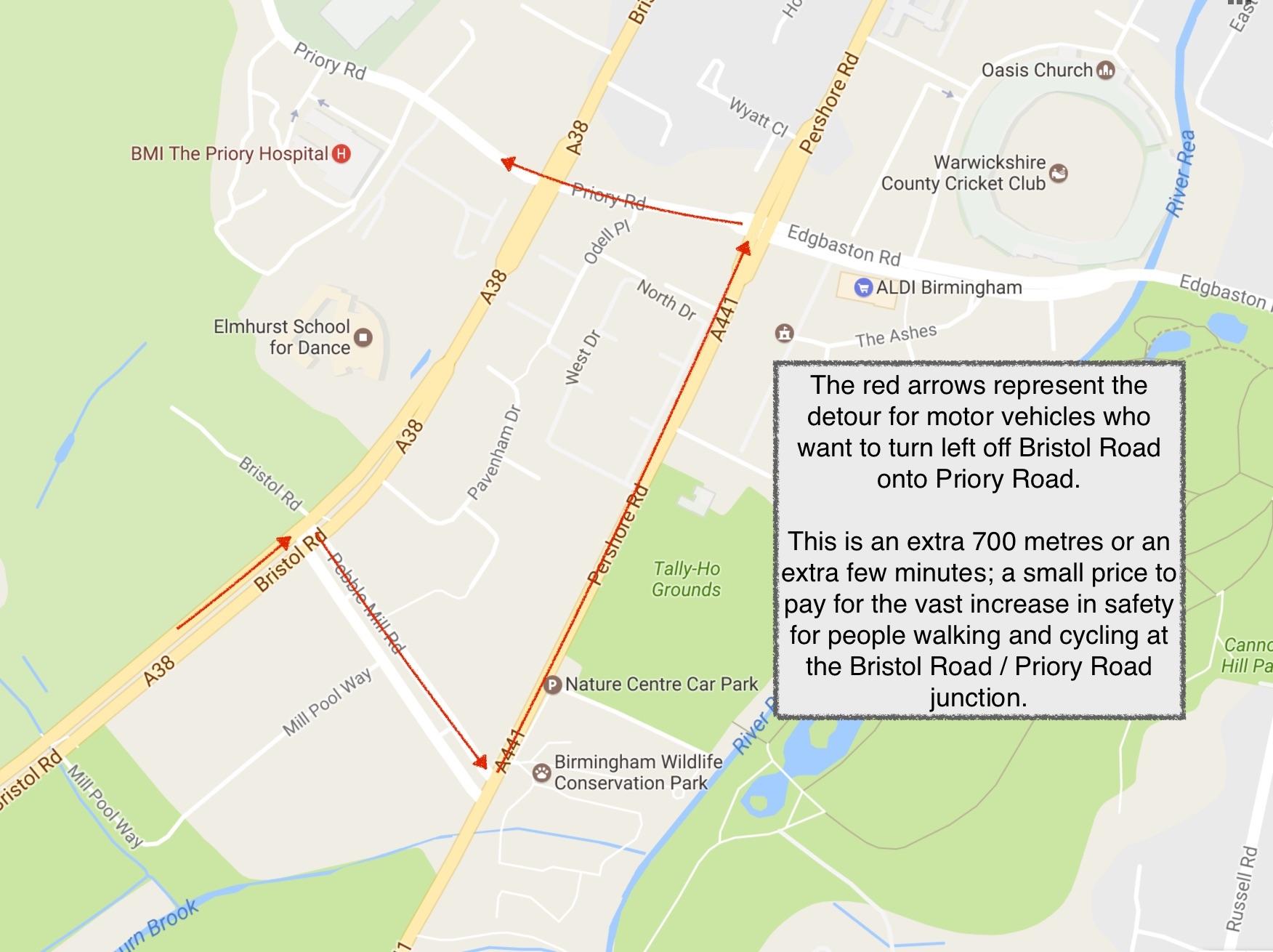 Bristol Road around the Priory Road junction