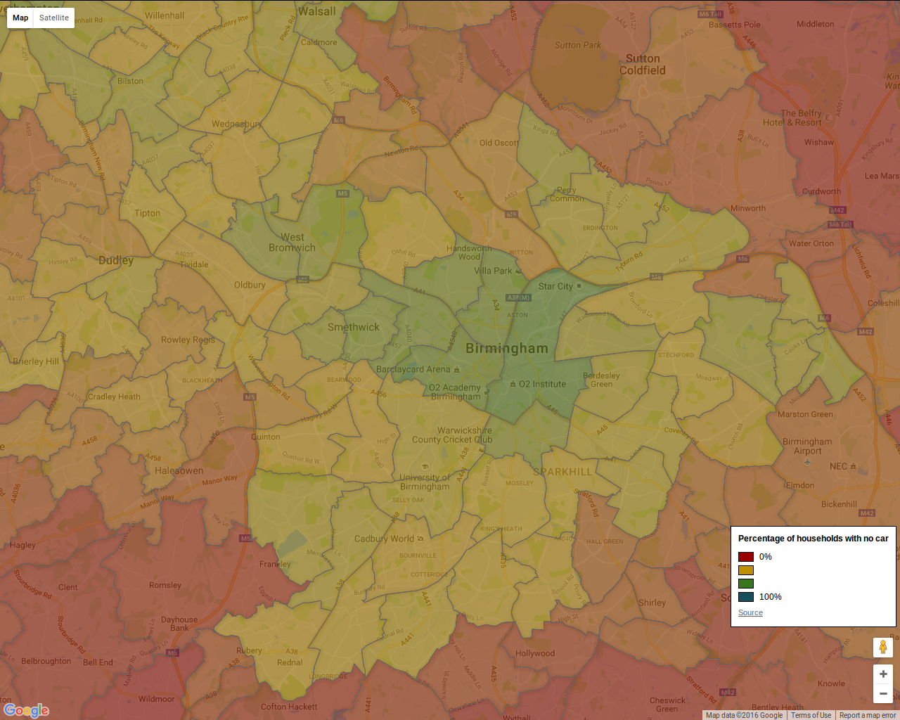 Car ownership in Birmingham - 2011