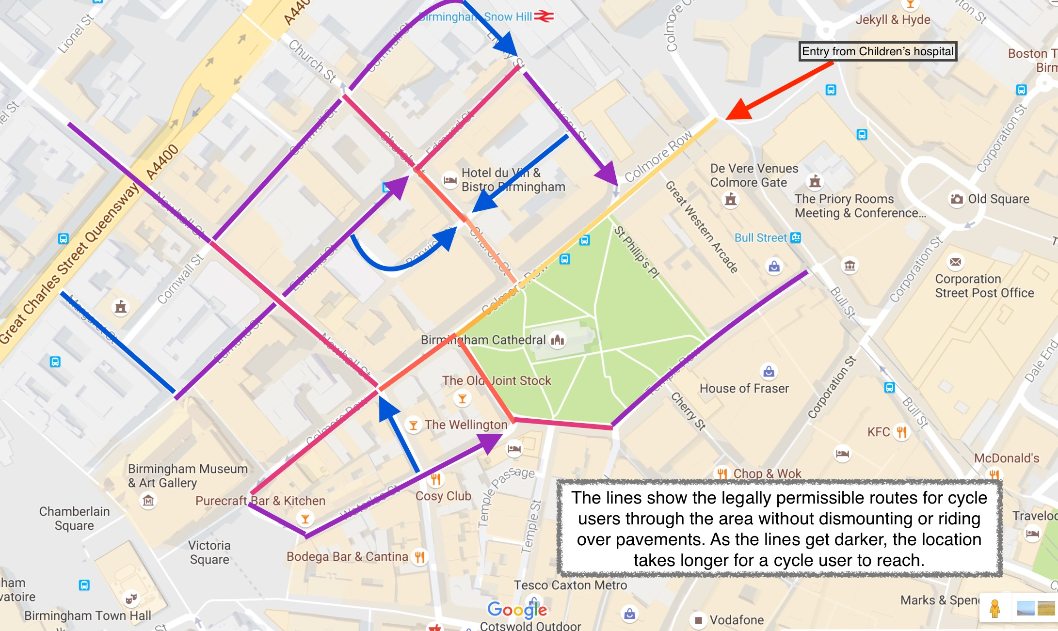Cycle routes when approaching Colmore Row from the Children's Hospital