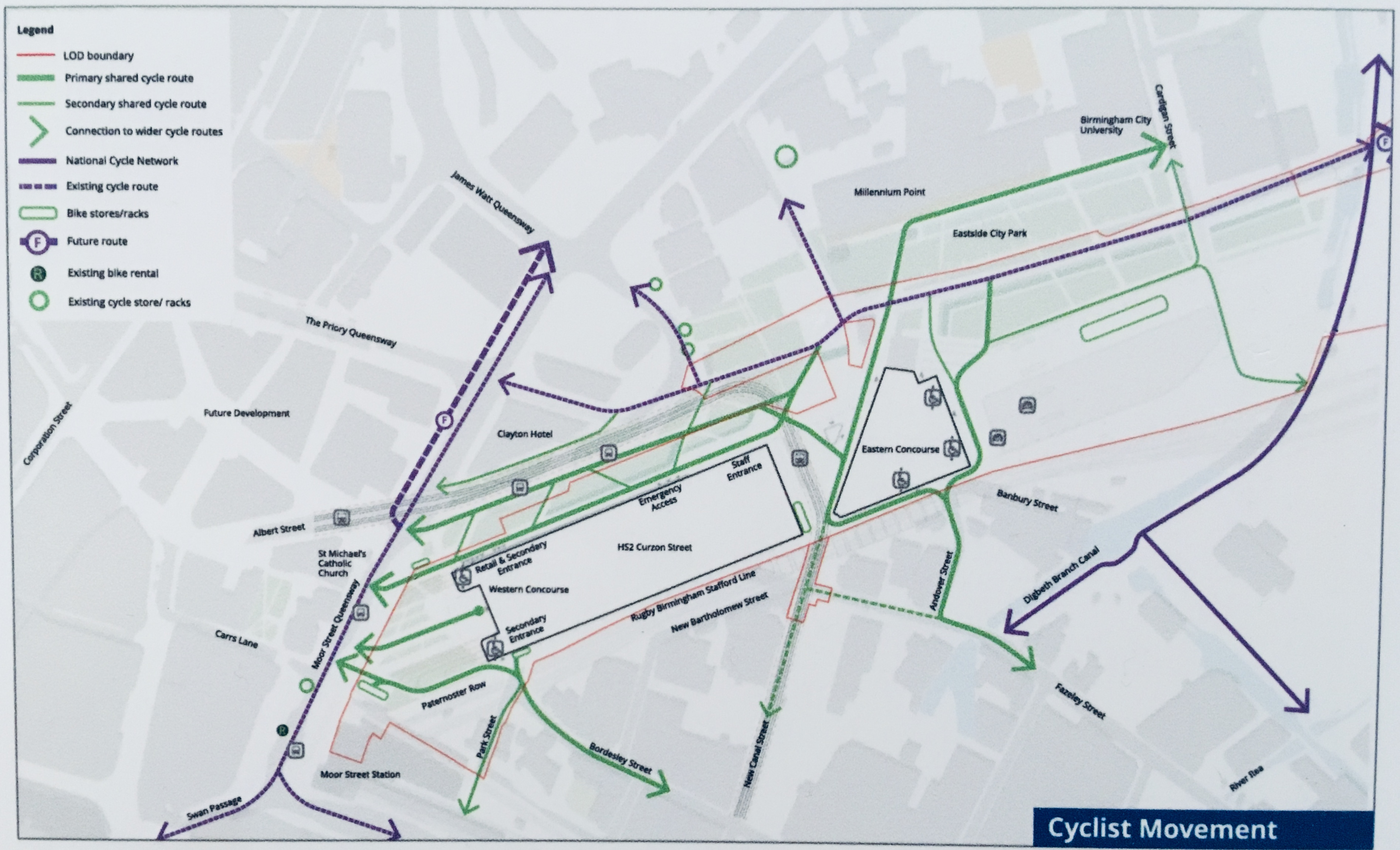 Suggested cycle flows around Curzon Station