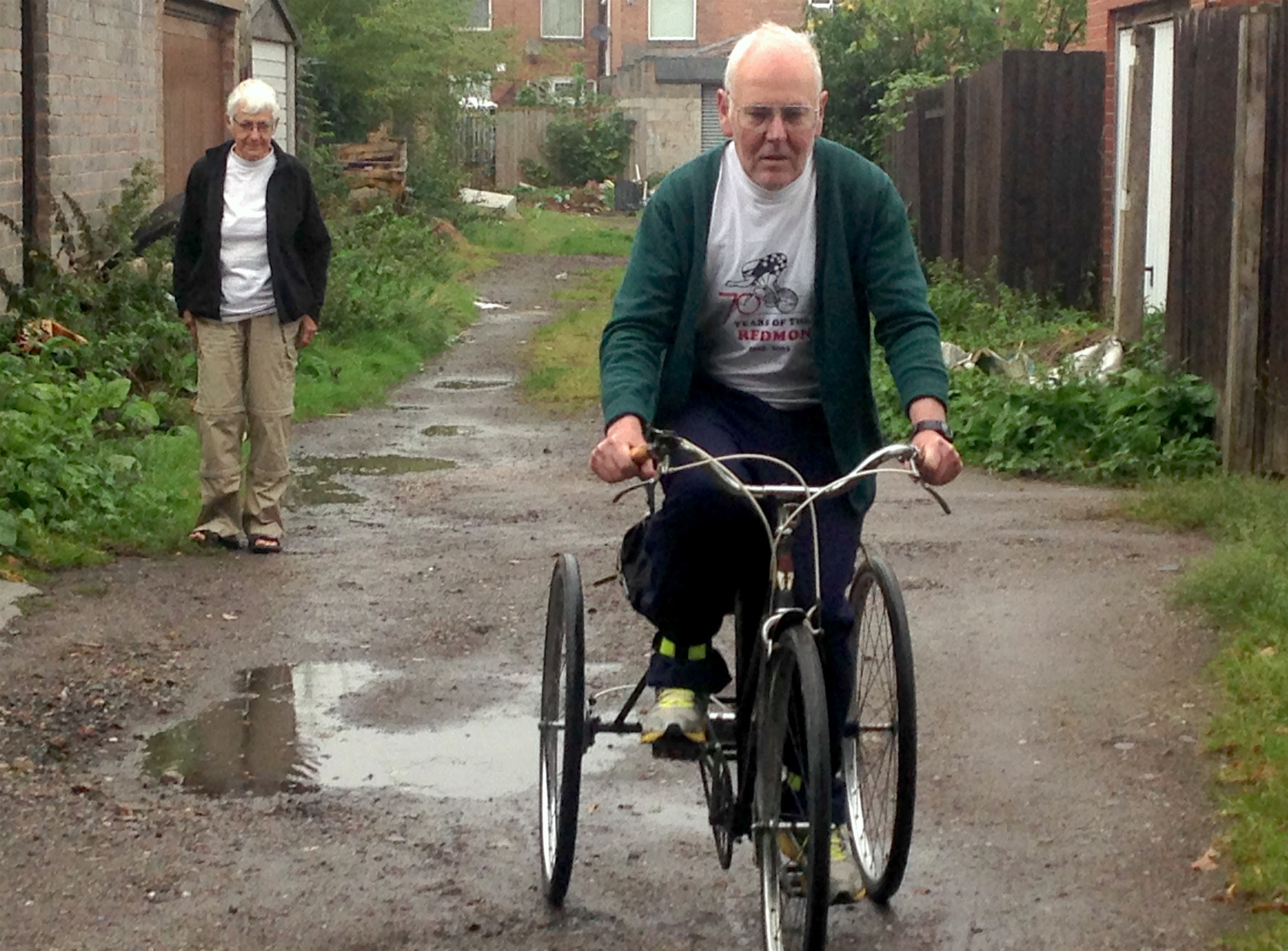 Howard Boyd on his tricycle