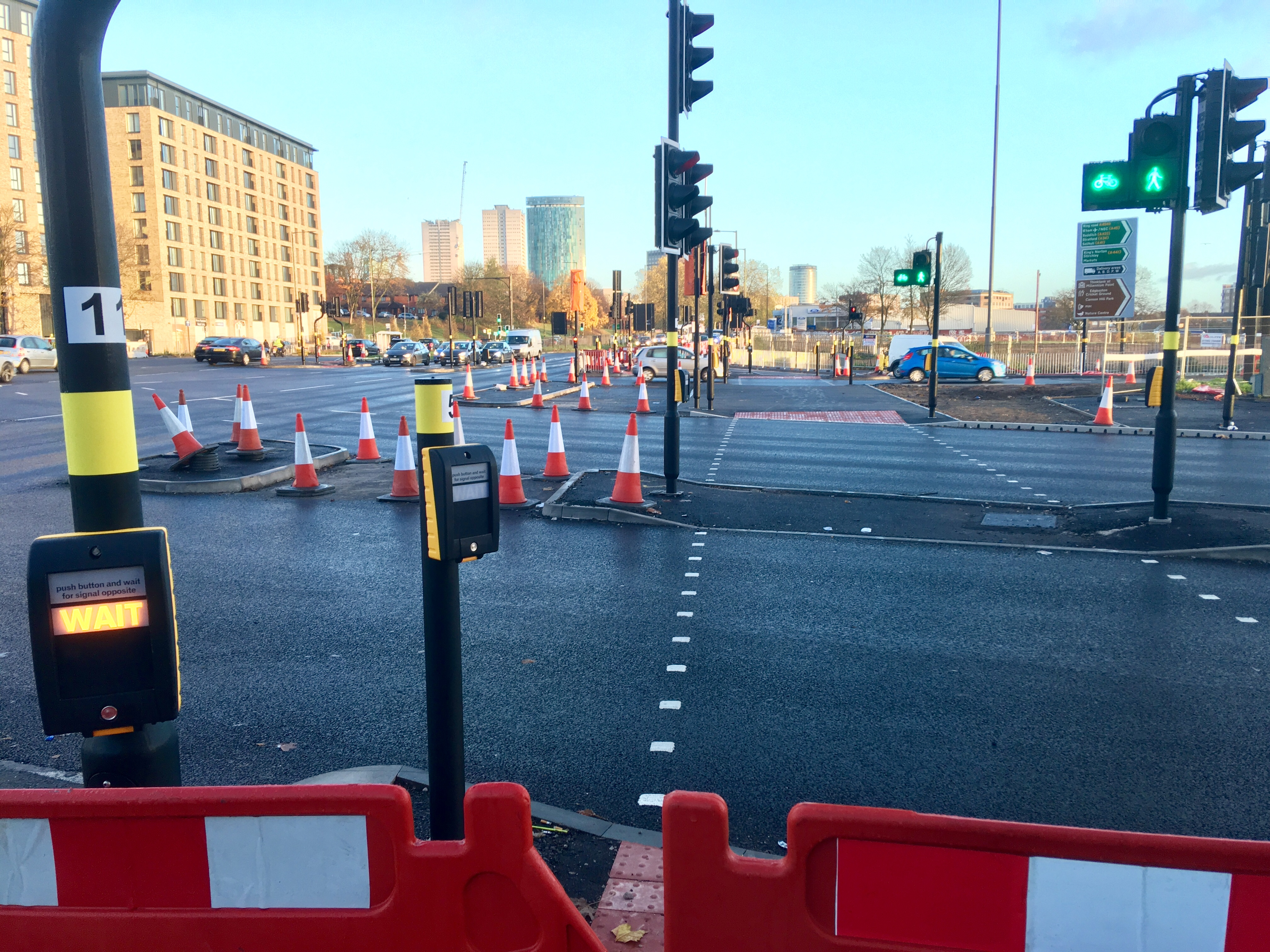 New crossings at Middleway junction with Bristol Road