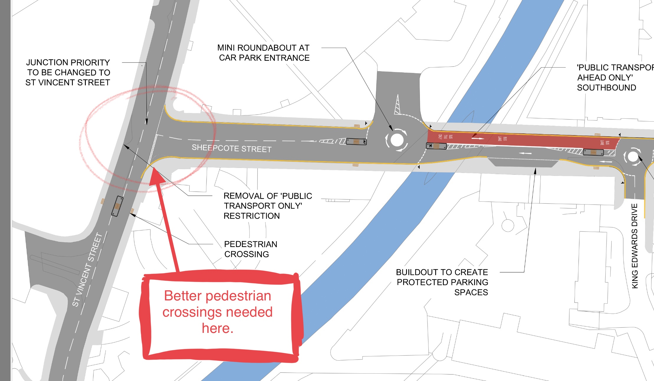 Proposed changes to St Vincent Street / Sheepcote Street junction