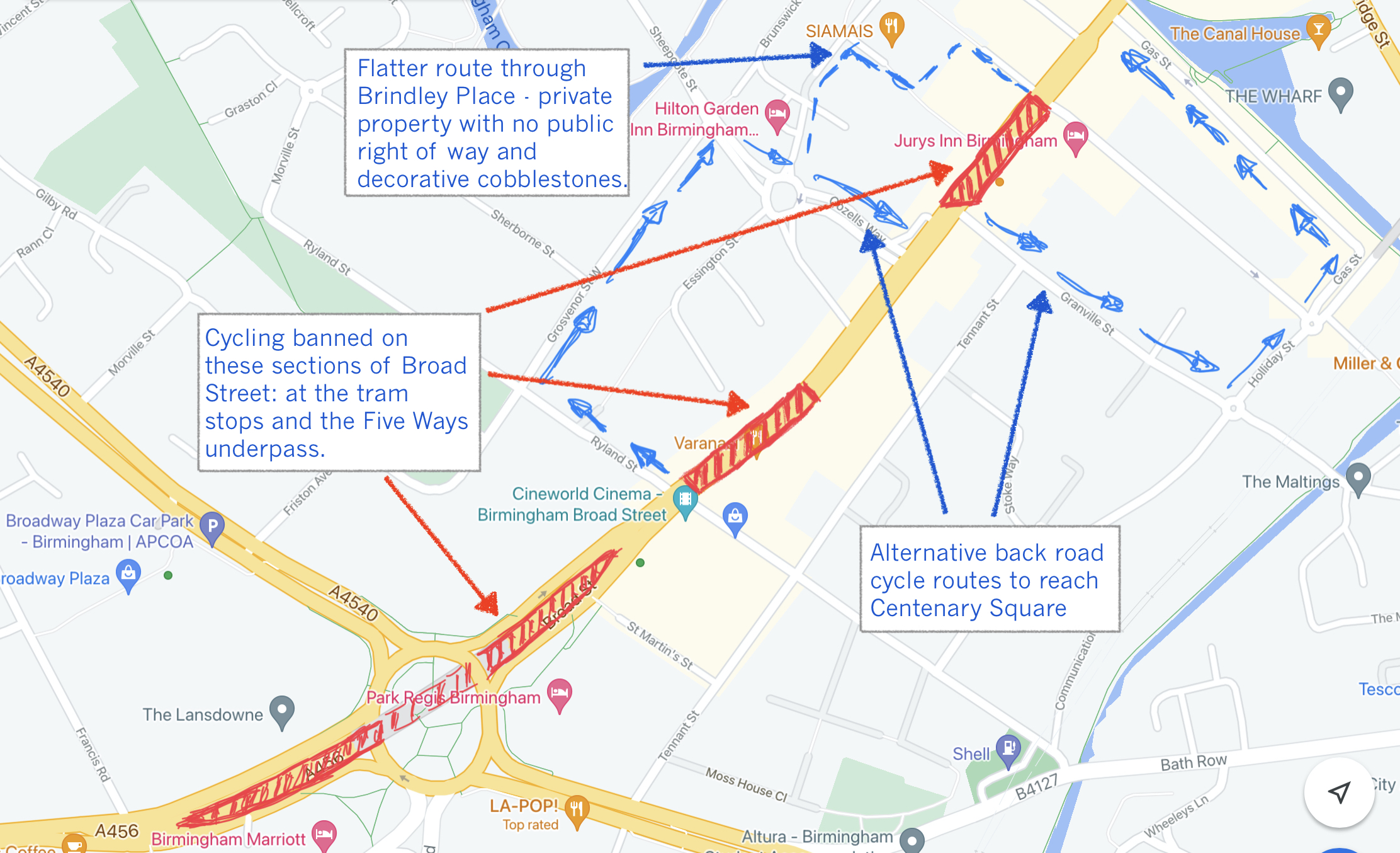 Map showing where BCC propose to ban cycling on Broad Street.