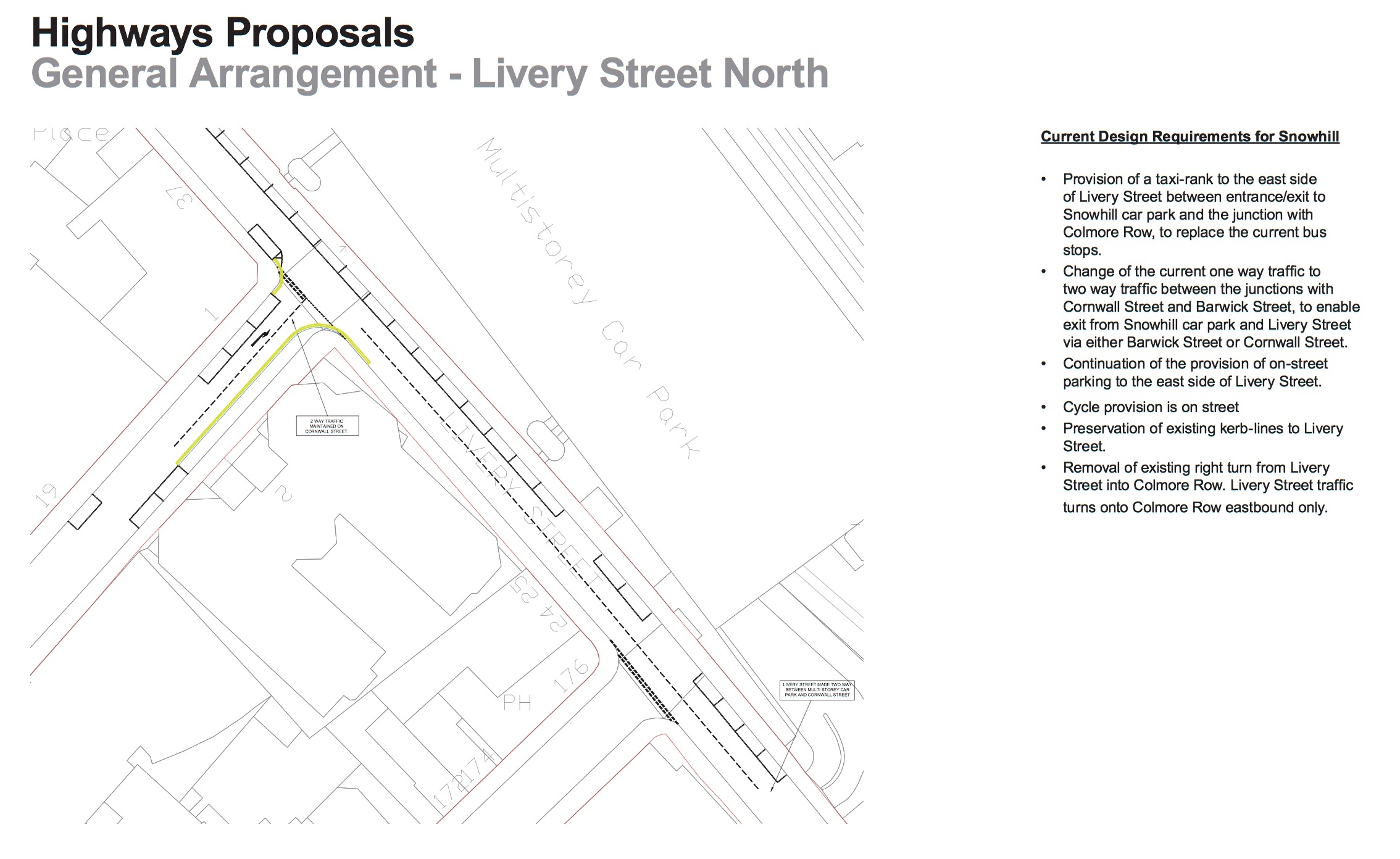 Plans showing proposed two-way driving on part of Livery Street North