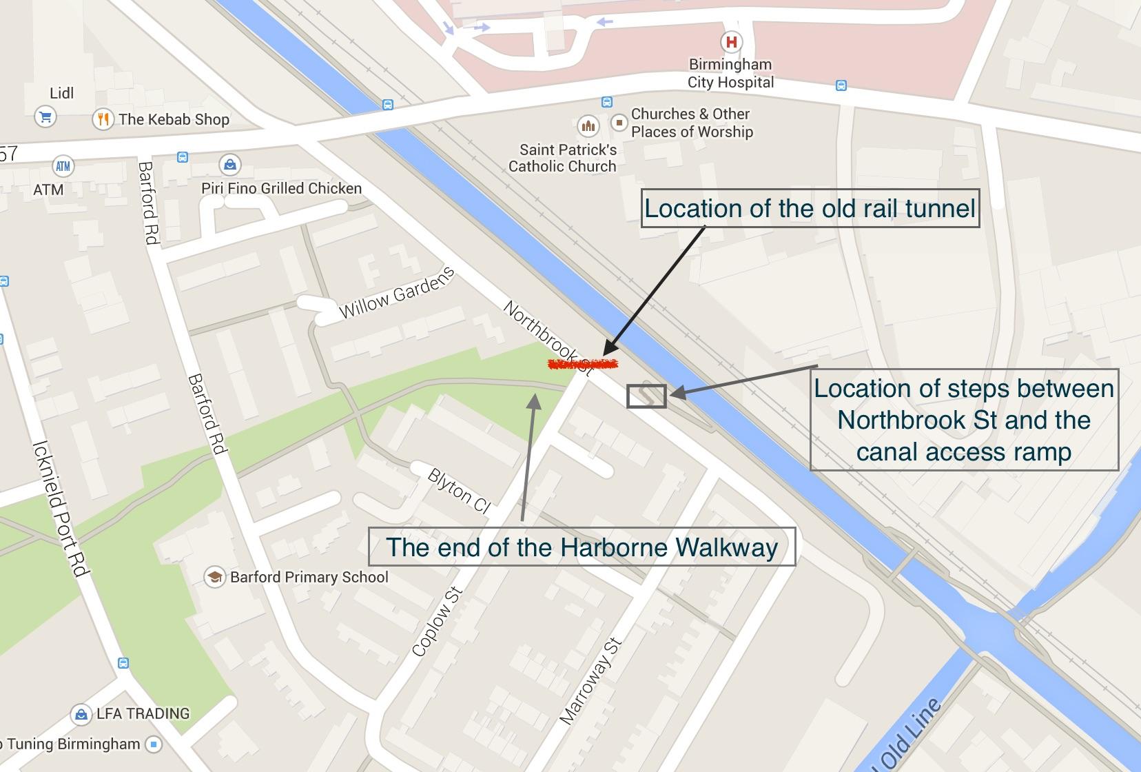 Northbrook St rail tunnel map