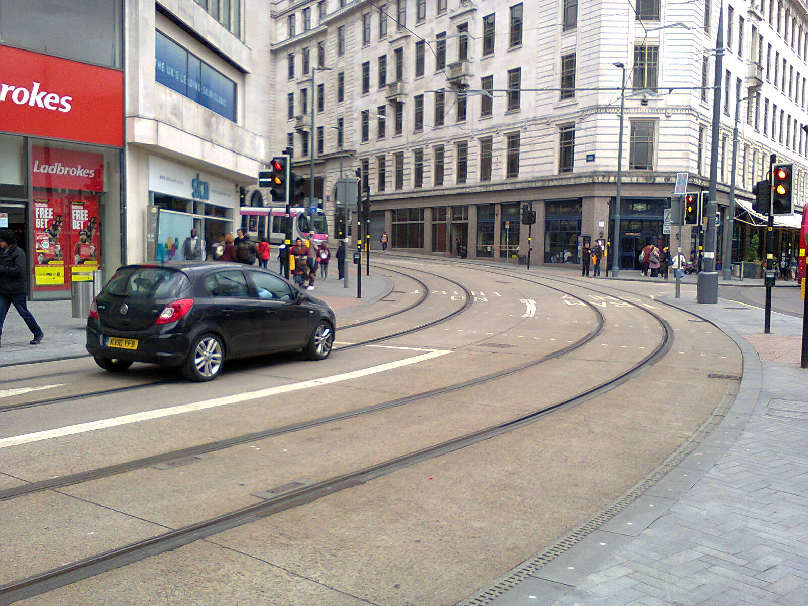 Corporation Street Junction with Bull Street from a Driver's Perspective