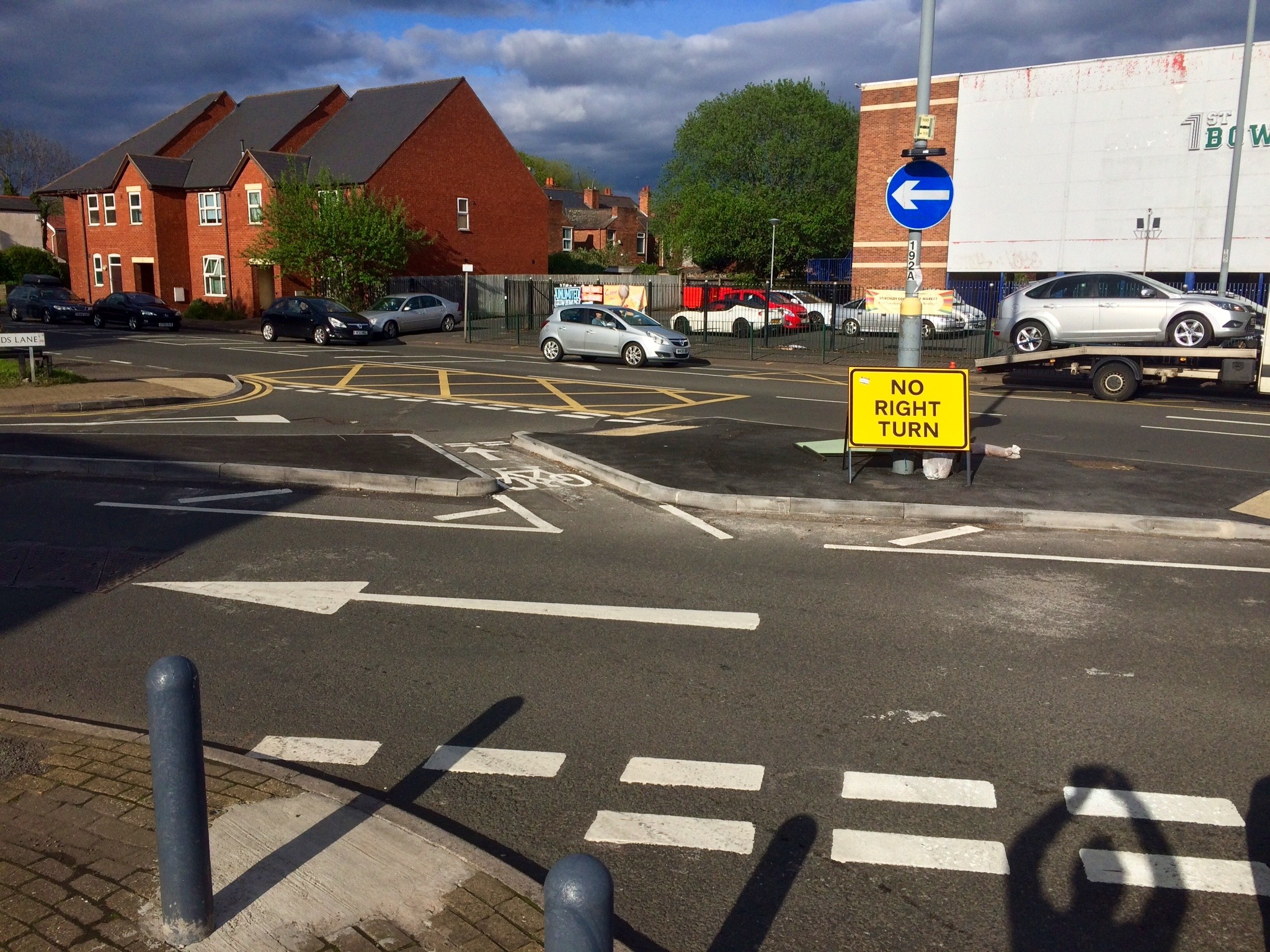 The new central island at the Warwards Lane Pershore Road junction.