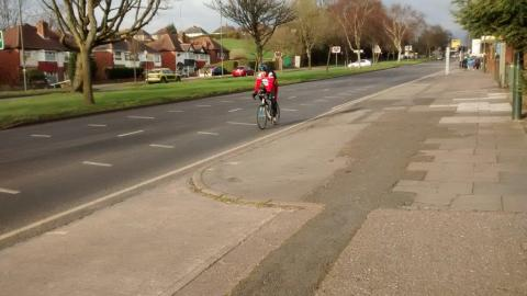 Shared use pavement on Bristol Road.
