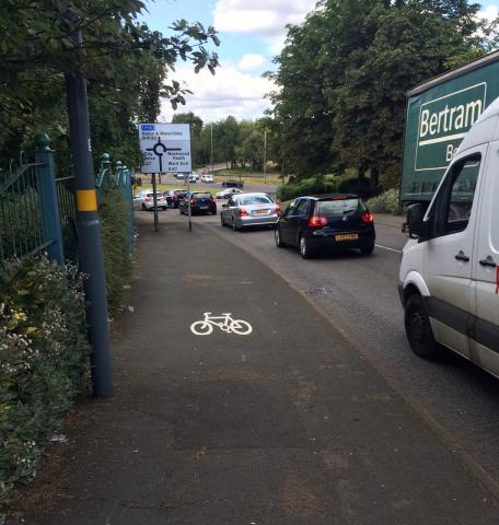 Shared use pavement next to A4132