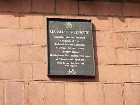 Plaque from the official opening of the Rea Valley Cycle Route
