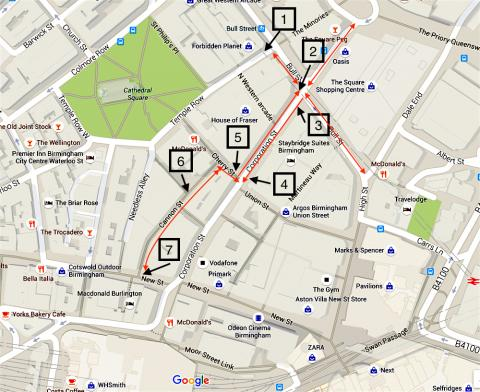 Map of the cycle route along Corporation Street