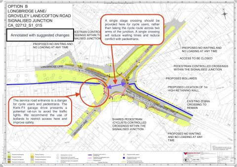 This annotated diagram shows the proposals for the junction of Longbridge Lane and Cofton Road.