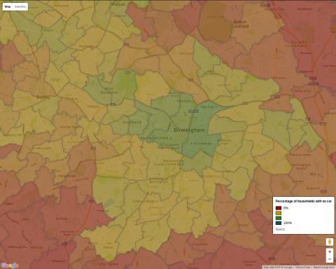 Car ownership in Birmingham - 2011