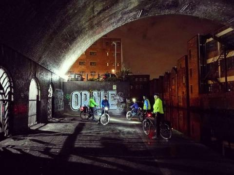 CycleBirmingham ride group looking super cool on the canal