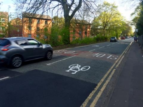 Cycle symbols on Edgbaston Park Road