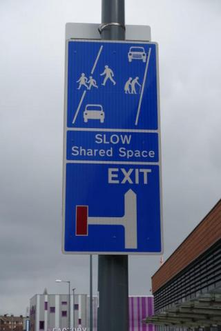 Shared Space sign at Longbridge