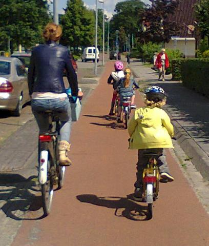 A family cycling in the Netherlands