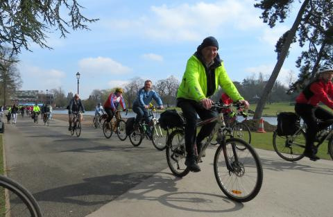 The Rea Valley anniversary ride leave the MAC at Cannon Hill Park