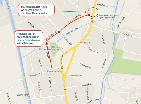 The location of the rat-run along Ribblesdale Road that has been blocked.