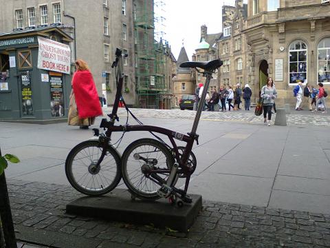 Buster the Brompton on the Royal Mile