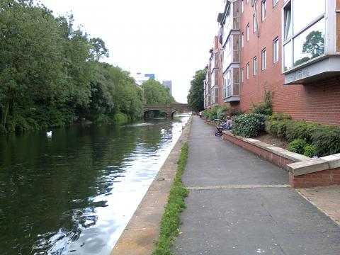 The riverside path in Leicester