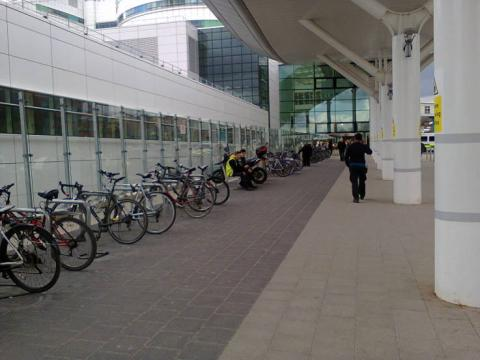 Cycle parking at the QE hospital main entrance