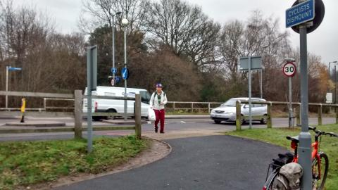 Cyclists expected to dismount to cross Hospital Way