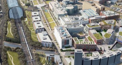 Computer generated visualisation of the new city centre BCU campus.