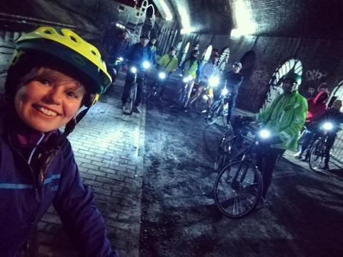 A shot of one of the CycleBirmingham social rides