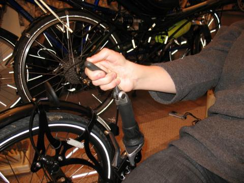 Adapatation to make it easier for Natalya to control her trike