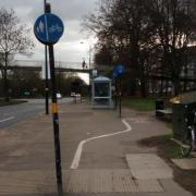 Cycle lane on shared use pavement on Bristol Road