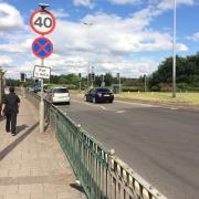 Narrow section of pavement next to A47.