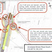 This shows the proposed changes to the Bristol Road South and Tessall Lane junction.