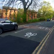 Cycle symbols on Edgbaston Park Road