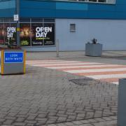 Pink Shared Space zebra crossing in Longbridge