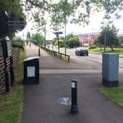 Bollards at the bridge next to the Worcester racecourse