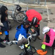 Rea Valley ride rearguard fix a puncture
