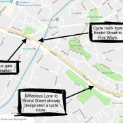Route of cycle track from Bristol Street to Five Ways