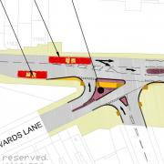 A plan of the initial proposals for the Warwards Lane Pershore Road junction.