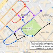 Cycle routes around Colmore Row as you approach from Newhall Street