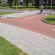 Street level view of a Dutch roundabout