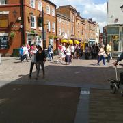 The pedestrianised centre of Leicester