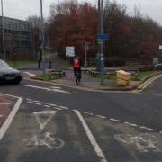 Poor cycleway design outside The Barberry