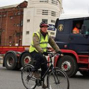 Cycle users next to lorry