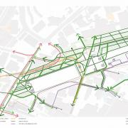 This diagram shows the suggested walking and cycling flows around Curzon Station