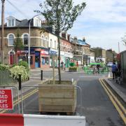 Pembroke Road closed with a planter