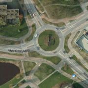 Plan view of a Dutch roundabout (Google Maps)