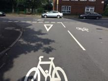 Junction with cycle symbols on A47 Parkway route.