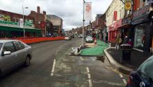 A view of the new and old cycle lanes on the Curry Mile